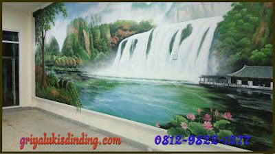 Mural lukis dinding gambar pemandangan