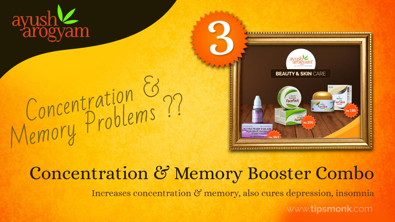 5 Best  Ayurvedic products available only at Ayush Arogyam - Concentration & Memory Booster Combo