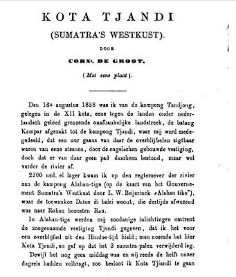 Penelitian Muara Takus Kota Tjandi oleh Corn. de Groot