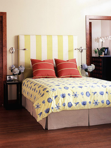 The Expansive Unit Is Actually Two Pieces A Wall Treatment With Three Pop Out Fabric Squares And King Size Headboard Whose Slipcover Can Be Easily