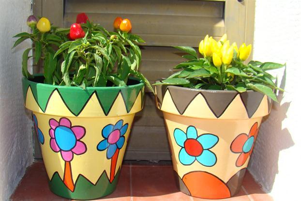 La guarida de bam decorar macetas for Decoracion jardin macetas