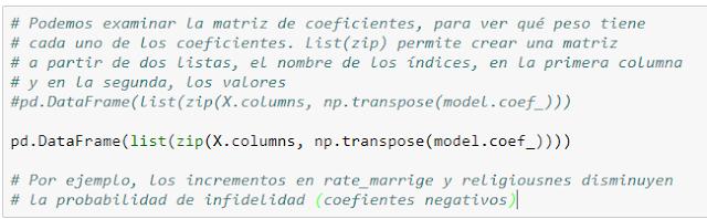 Código para obtener la matriz de coeficientes.