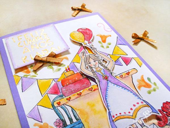 proceso de tarjeta de cumpleaños pintado con acuarelas