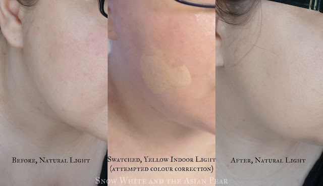 Before and after swatches of Sulwhasoo cushion #13