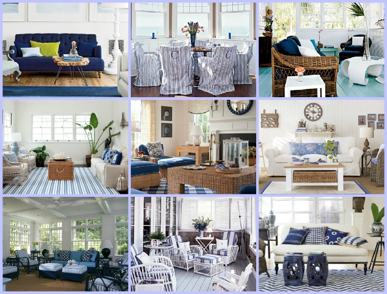 blue and white coastal rooms