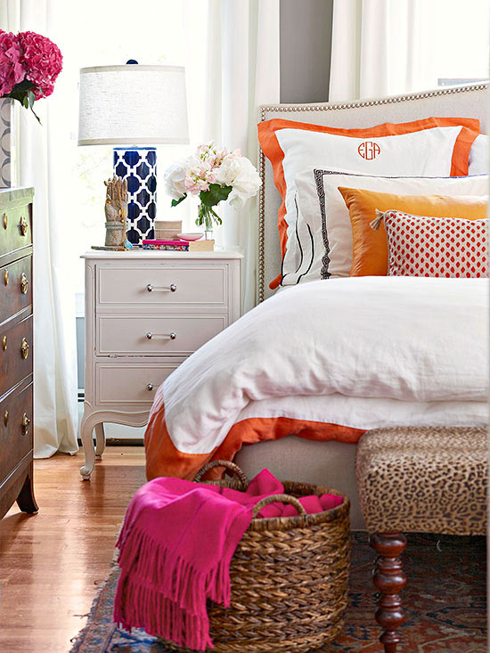 Navy, Pink and Orange Decor Inspiration
