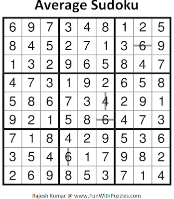 Average Sudoku (Fun With Sudoku #94) Solution