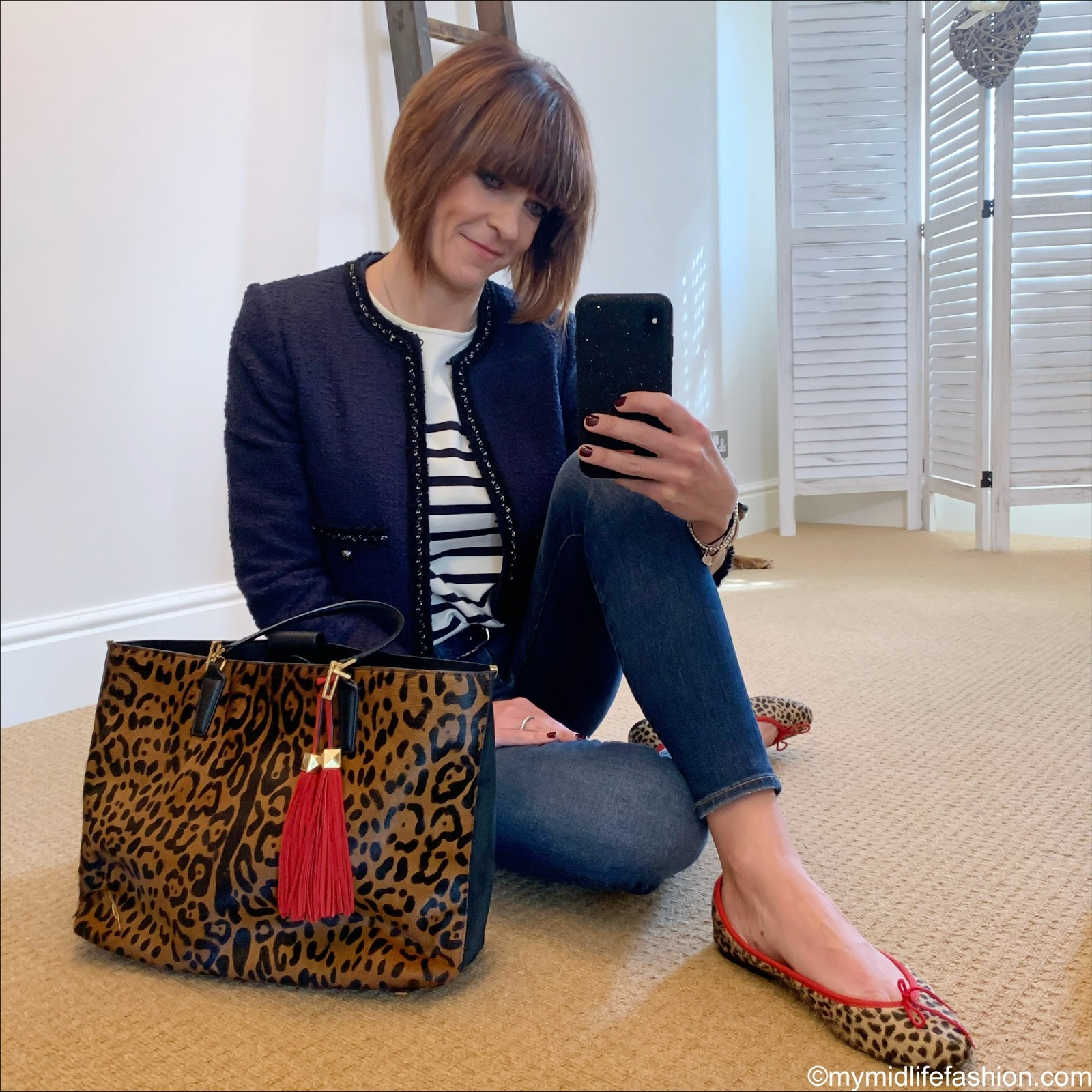my midlife fashion, sesame Loïc stripe jersey, l k Bennett Charlie jacket, j crew 8 inch stretchy toothpick jeans, Brian Atwood leopard print tote, French sole India cheetah ballet pumps