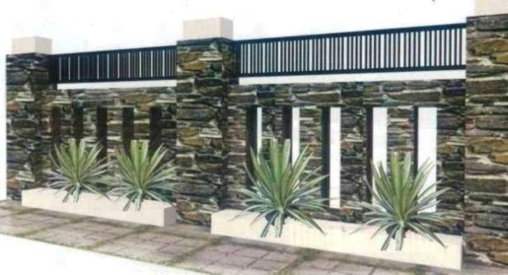 Gambar Desain Pagar Rumah Minimalis dari Batu Alam dan Besi