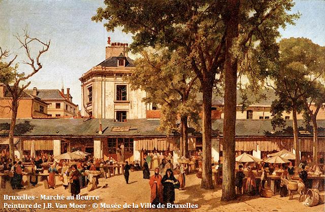 Bruxelles - Place et Palais de la Bourse - Le Marché au Beurre s'est installé à l'emplacement de l'ancienne église du couvent des Récollets disparue - Bruxelles-Bruxellons