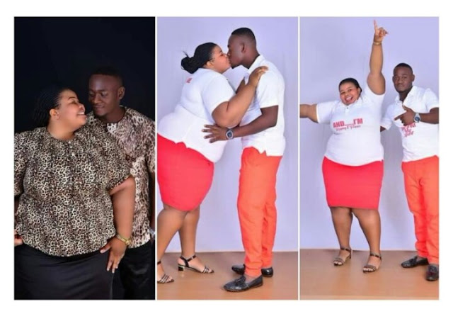 Check out these viral pre-wedding photos of a plus size lady and her fiancé