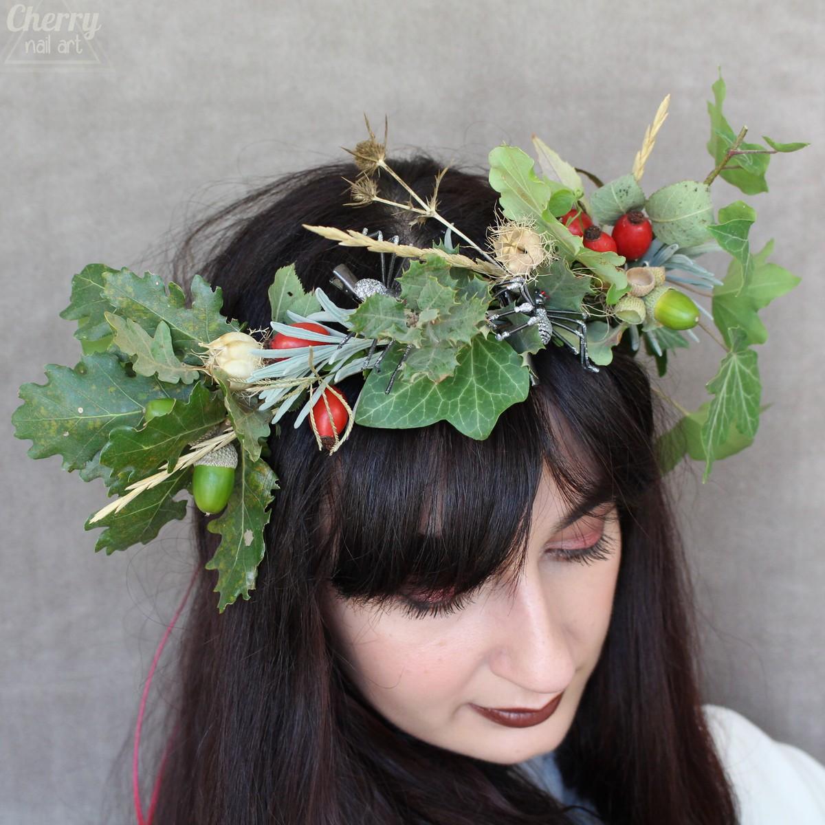 DIY-couronne-cheveux-halloween-automne-fleurs-feuilles-naturelles