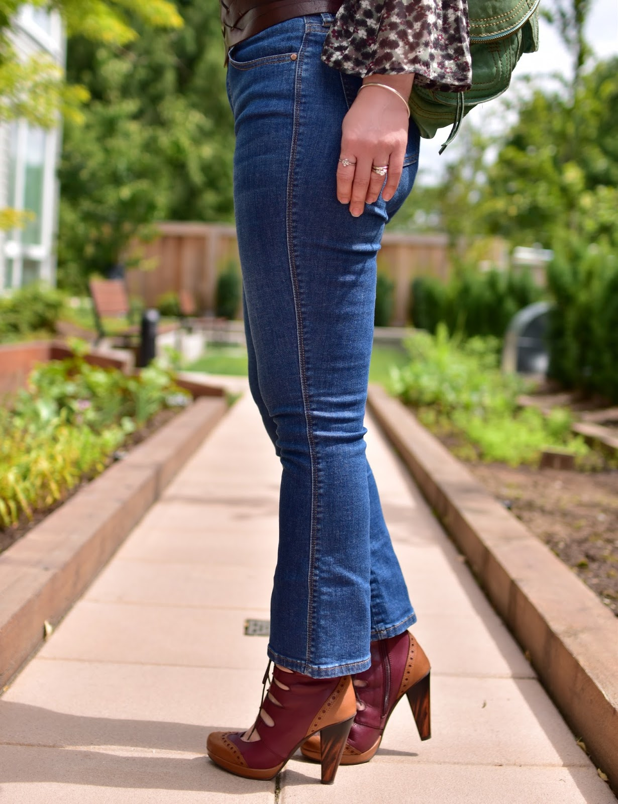 cropped flare jeans, colour blocked lace-up heels