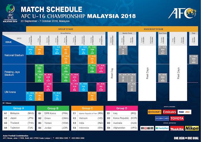 Gambar jadwal afc championship u16 2018