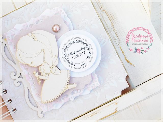 ręcznie robiony album komunijny dla dziewczynki, handmade, scrapbooking