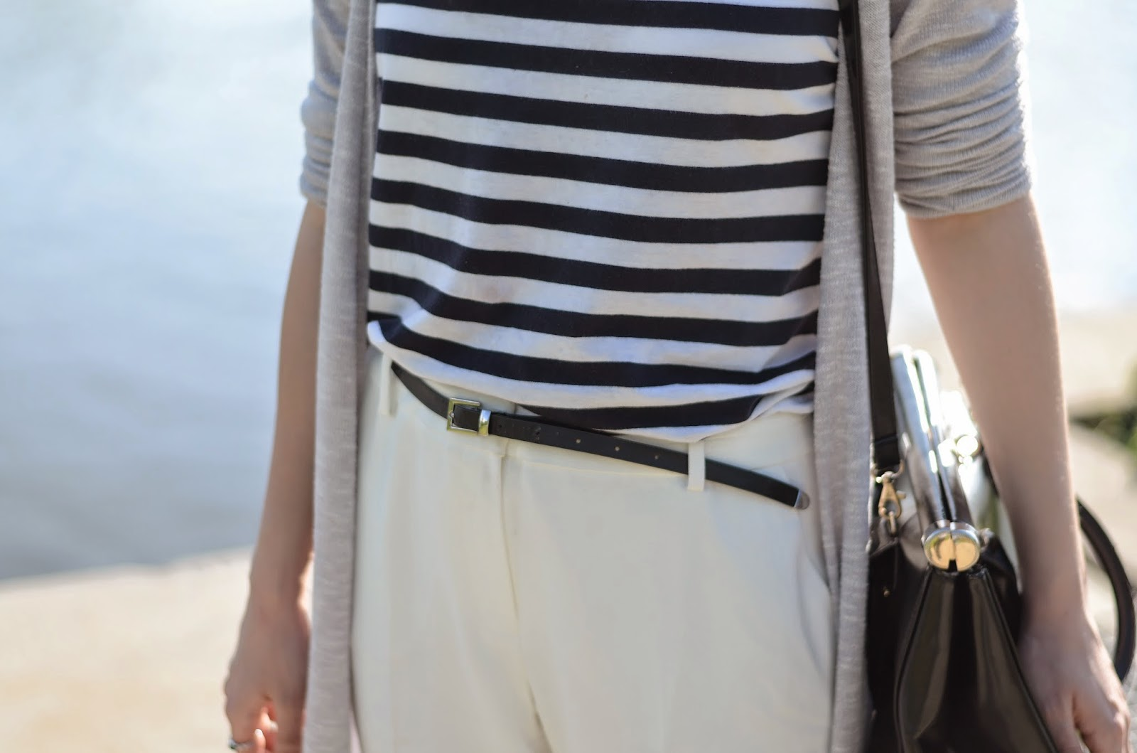 summer striped mango street style white pants hat
