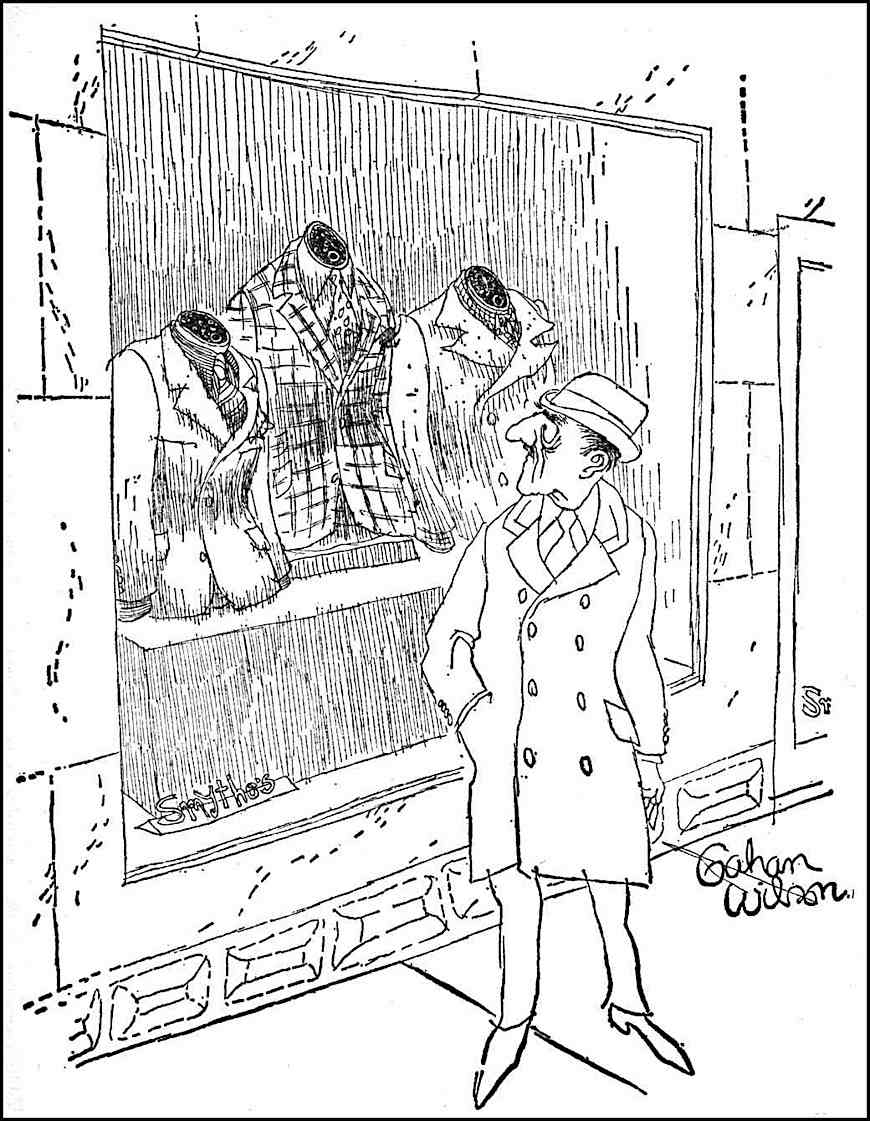 a Gahan Wilson cartoon, odd mannequins