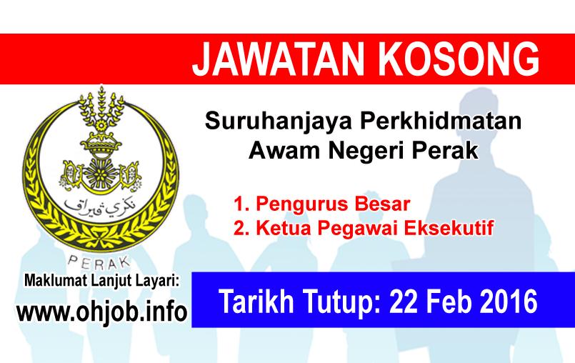 Jawatan Kerja Kosong Suruhanjaya Perkhidmatan Awam Negeri Perak logo www.ohjob.info februari 2016