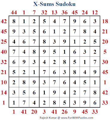 X Sums Sudoku (Fun With Sudoku #217) Puzzle Solution