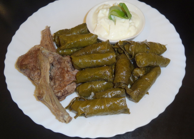 Stuffed Vine Leaves and Lamb Chops