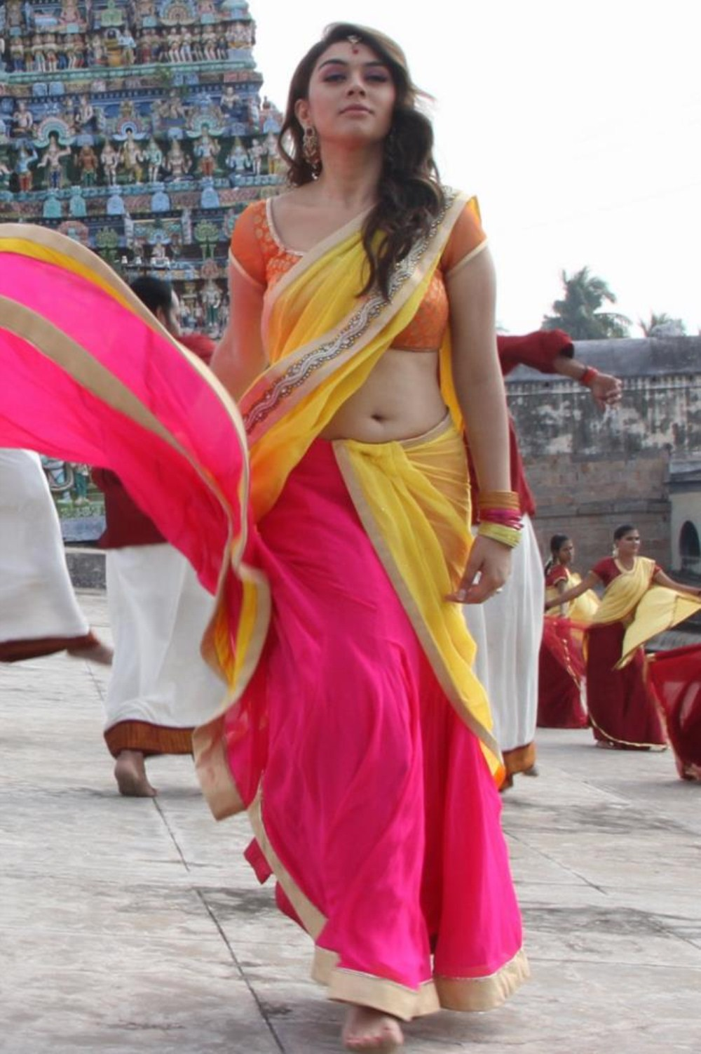 Actress Hansika Motwani Latest Hot Yellow Saree Photos -1795