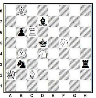 Problema de mate en 2 compuesto por Vasil Dyachuk (Diagrammes 1994, 1º Premio)