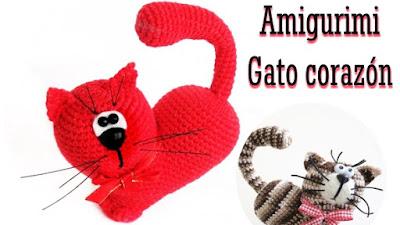 Gatos forma Corazón Amigurimi vídeos y esquema en pdf