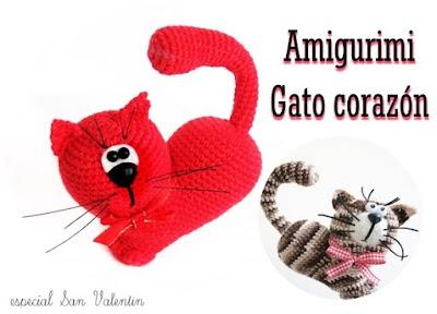 Gatos forma Corazón Amigurumi vídeos y esquema en Pdf