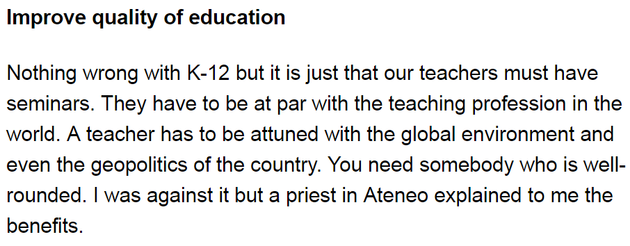 improved quality of education in philippine