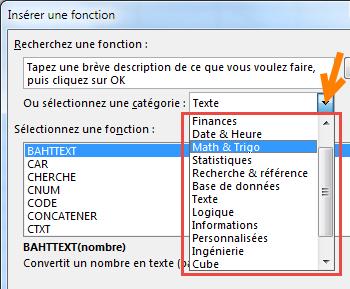 Liste des catégories des fonctions Excel