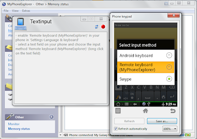 MyPhoneExplorer - Select Remote keyboard to input text via PC keyboard on your device.