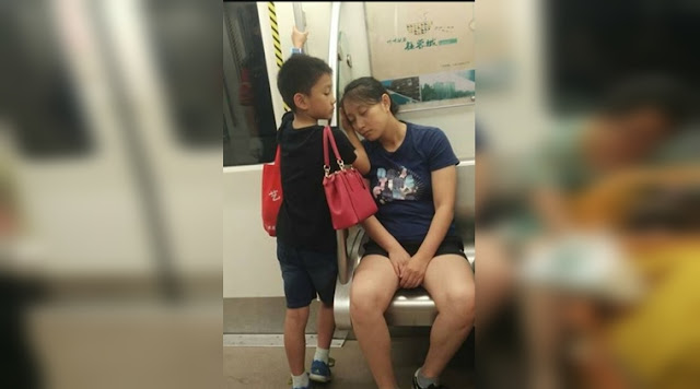 This viral picture of a little boy taking care of his mother will melt your heart