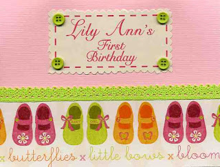 adorable toddler shoes on a pink and green card. Personalized with the childs name and age.