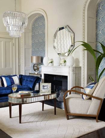 amazing white and blue art deco living room