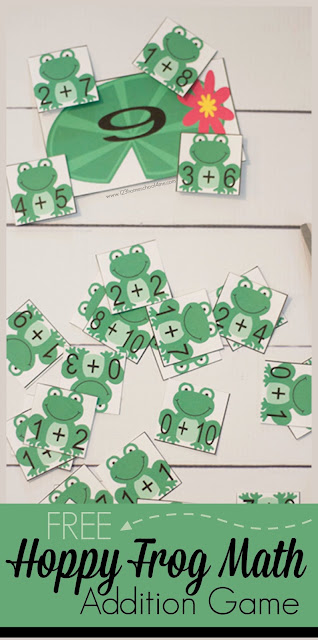 FREE Frog Addition Game - this is such a fun way for kindergarten, first grade, and 2nd grade kids to practice addition with a fun twist. This makes great extra practice for spring break, summer learning, math centers, and more.
