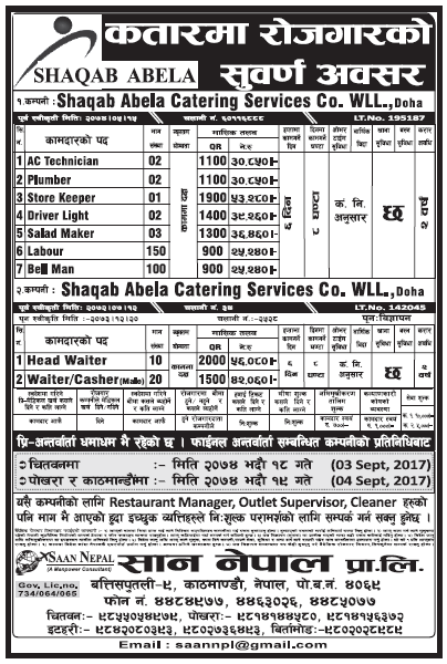 Jobs in Qatar for Nepali, Salary Rs 53,280