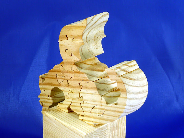 Left Side Top Rear - Wooden Toy Puzzle - Dragon - Yellow Pine - Unfinished - 7.5x6x15 Inches