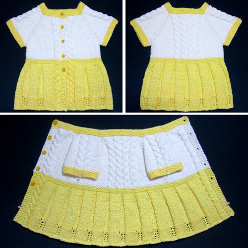Seamless Yellow Baby Sweater Dress - Free Pattern