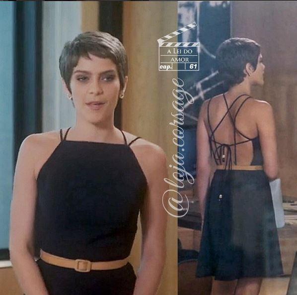 Vestido preto com tiras da Leticia A lei do amor