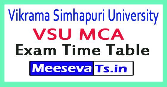 Vikrama Simhapuri University VSU MCA  Exam Time Table 2018
