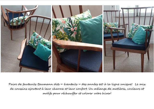 Paire de fauteuils bleu tropiques marine turqoise