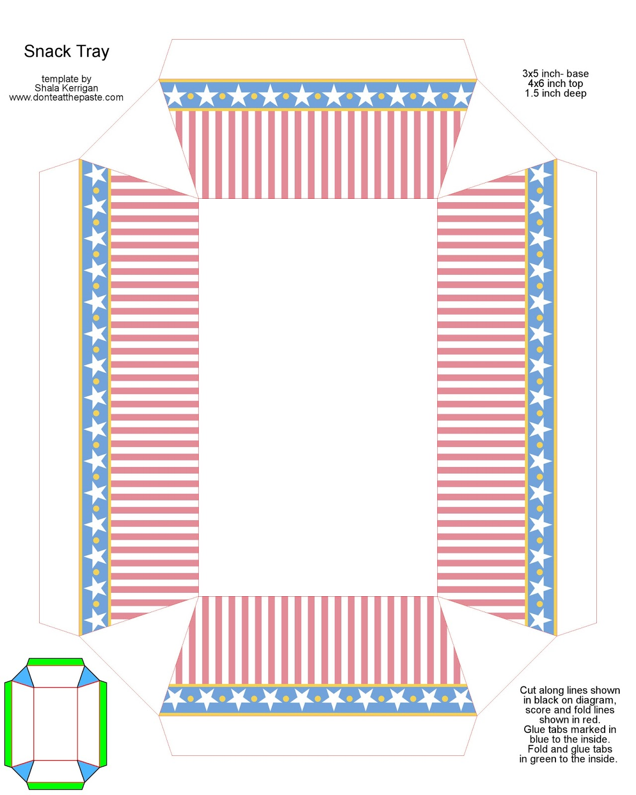Don T Eat The Paste Stars And Stripes Printable Snack Tray New Template