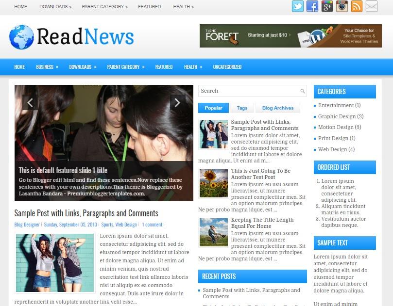 ReadNews Blogger Template