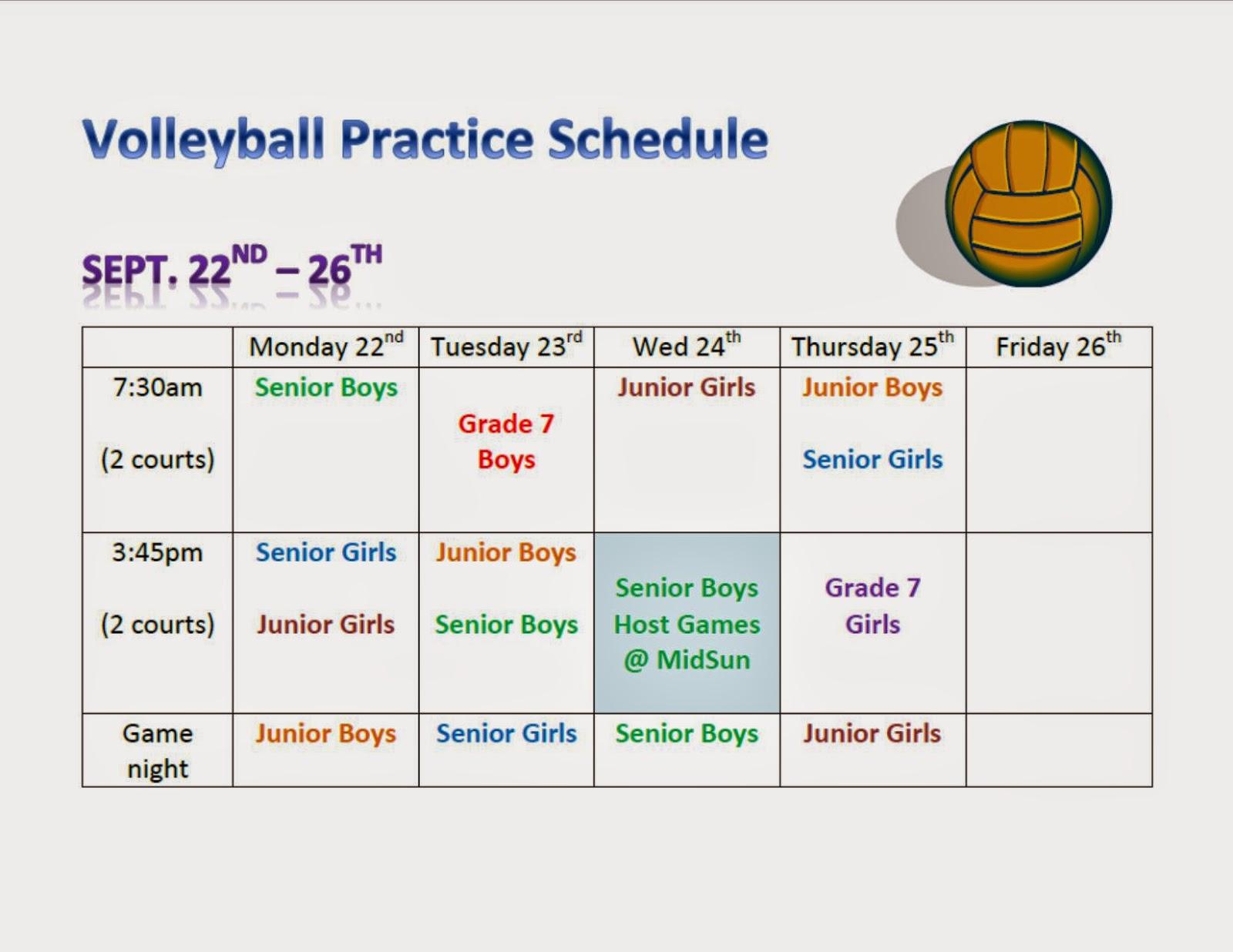 Midsun School Blog Midsun 2014 Volleyball Practice Schedule