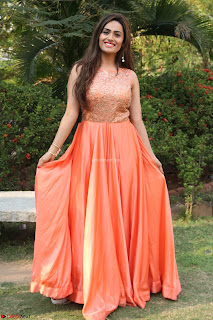 Actress Sakshi in beautiful orange Anarkali Dress Spicy Pics    028.jpg