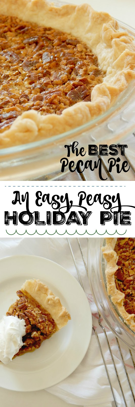 The BEST Pecan Pie...this easy pie comes together in under an hour and tastes incredible!  A sweet custard filling, studded with salty, crunchy pecans.  Perfect pie for the holidays! (sweetandsavoryfood.com)