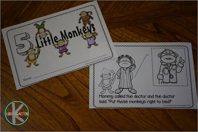 print 5 Little Monkeys Counting Book in color or black and white