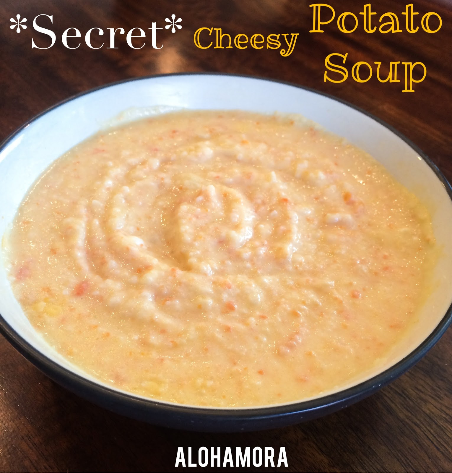 Secretly Skinny Cheesy Potato Soup.  Secret family recipe skinnified using cauliflower in this cheesy goodness of potato soup.  It's absolutely delicious and perfect dinner for a quick night.  Alohamora Open a Book http://alohamoraopenabook.blogspot.com/