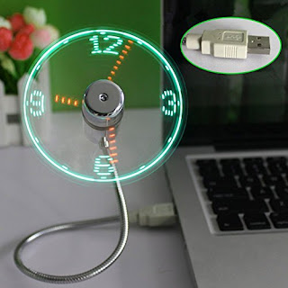 New LED USB Fan Clock Mini Flexible Time With LED Light