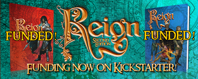 "The Reign Kickstarter banner showing the two book covers (labeled ""funded!"") and the text ""funding now on Kickstarter."""
